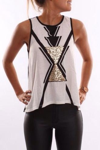 t-shirt shirt aztec white black gold sparkle blouse top black and gold aztec tank top fashion gold sequins white top cute top pants
