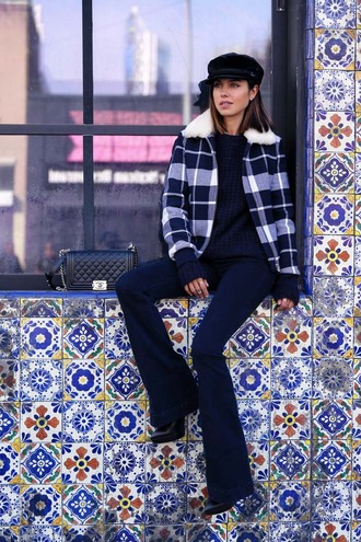 viva luxury blogger fisherman cap flare pants winter jacket jeans sweater jacket hat bag jewels flare jeans