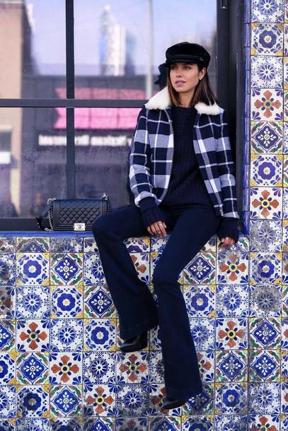 viva luxury blogger fisherman cap flare pants winter jacket jeans sweater jacket hat bag jewels flare jeans kick flare kick flare jeans