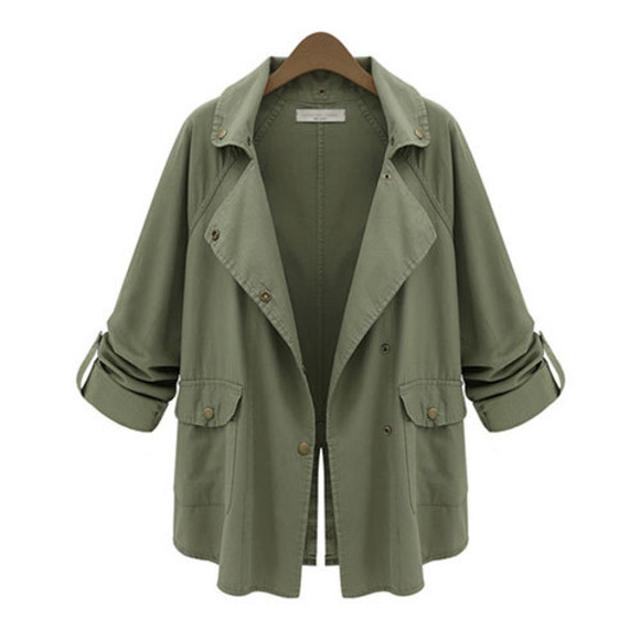 denim coat fashion army green