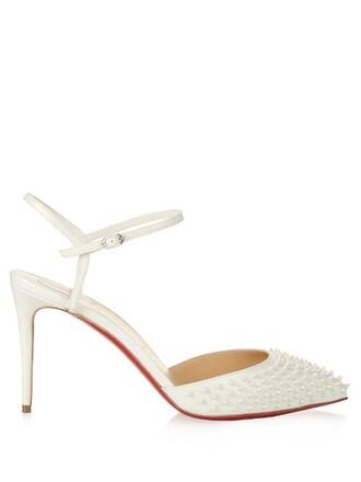 embellished pumps white shoes