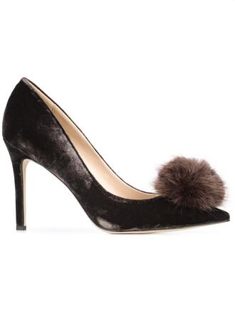 fur women pumps leather brown shoes