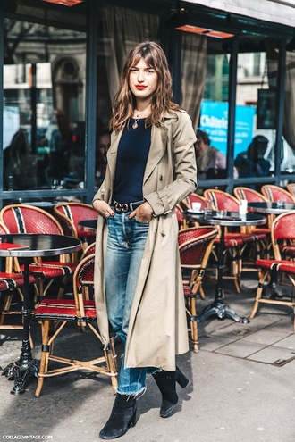 le fashion image blogger coat sweater jeans camel long coat jeanne damas fashionista trench coat nude coat top blue top blue jeans boots velvet boots spring outfits velvet shoes velvet ankle boots beige coat long coat fall outfits frayed denim
