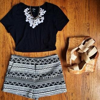 shorts aztec print shorts black and white short jewels