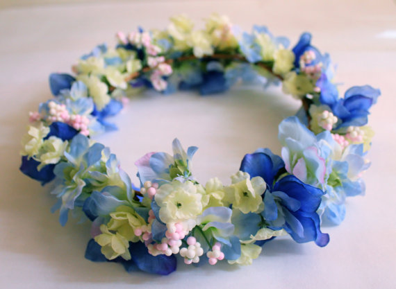 Blue Flower Crown Yellow Flower Crown Flower Wreath Wedding