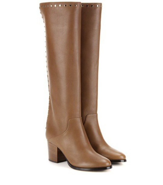 Jimmy Choo Monroe 65 Embellished Knee-high Leather Boots in brown