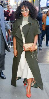 skirt,midi skirt,top,coat,khaki,kerry washington,spring outfits,pumps,sunglasses