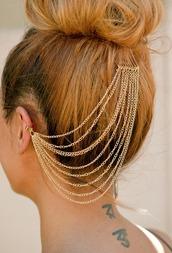 jewels,hair chain,hair accessory,head jewels,ear cuff,ear chain,hair chains,gold jewelry