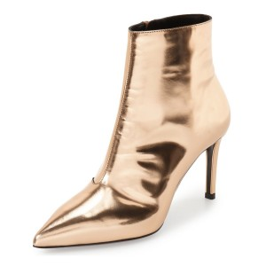 2018 Gold 3 Inches Stiletto Boots Pointy Toe Ankle Boots