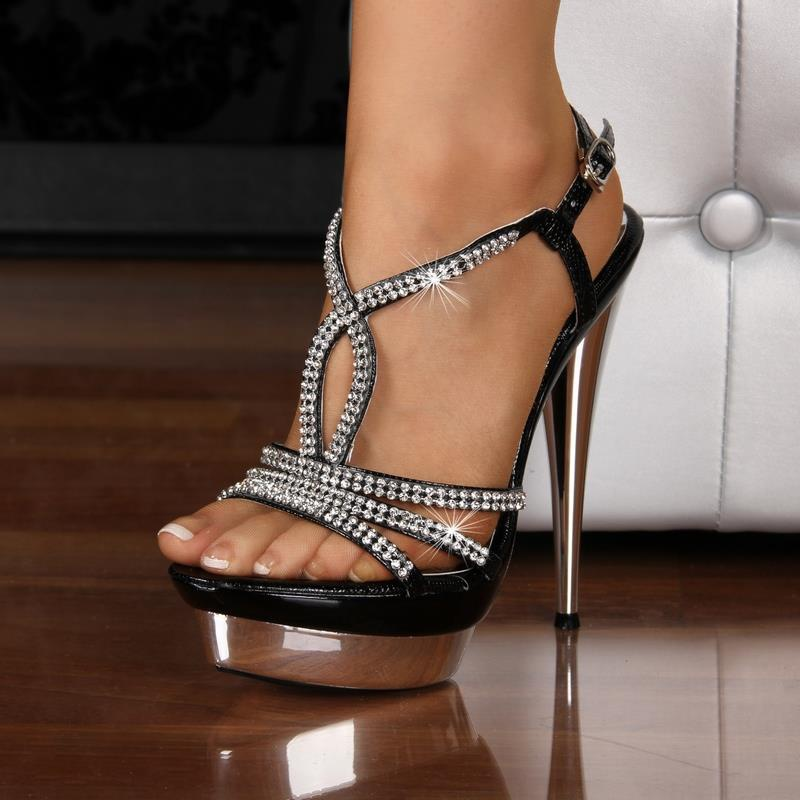 Exclusive sandals platforms high heels with rhinestones black, 34,95
