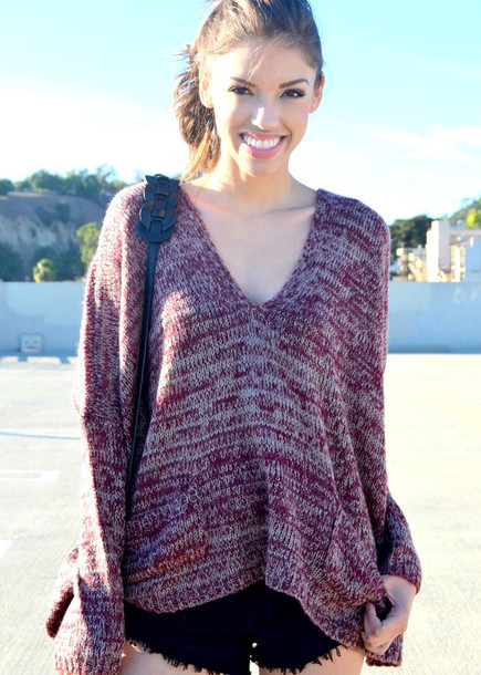 sweater oversized sweater red red sweater burgundy maroon/burgundy burgundy burgundy sweater v-neck sweater v neck
