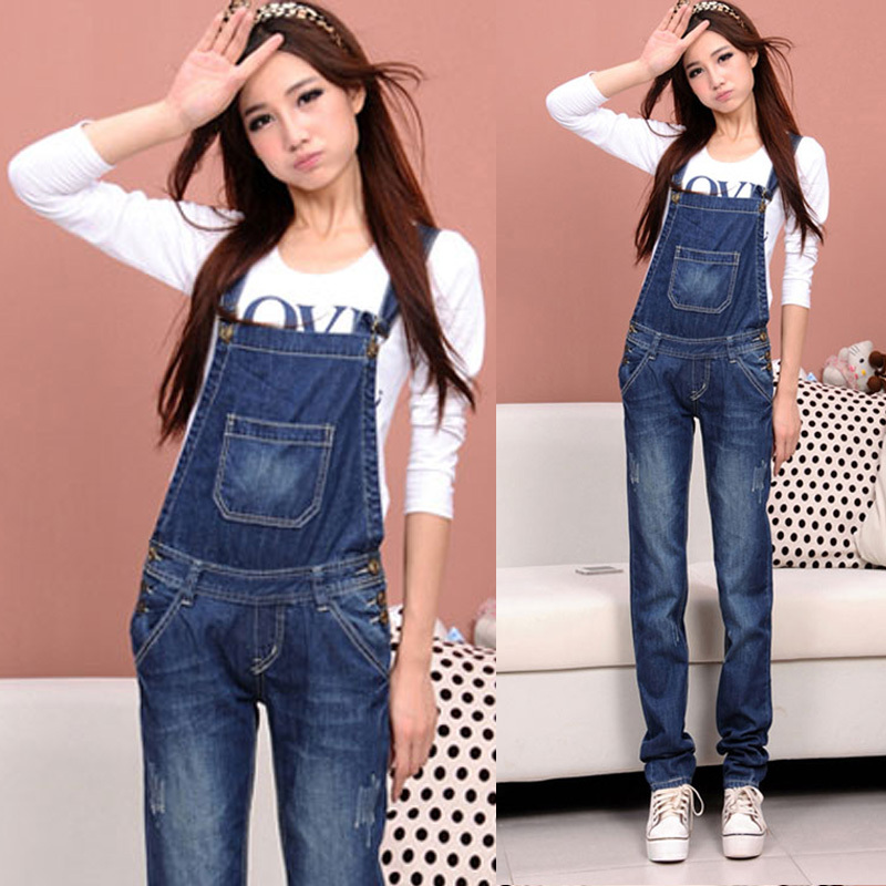 2013 sppring lady denim bib pants women's blue jean jumpsuit femeal casual loose straight trousers romper overalls for women-inJumpsuits & Rompers from Apparel & Accessories on Aliexpress.com