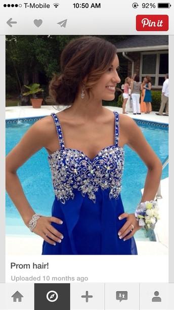 dress blue sparkles beaded