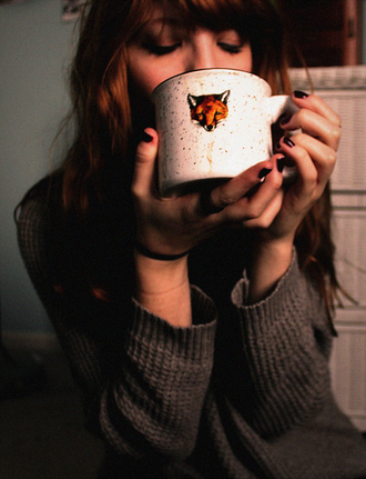 sweater fox mug winter outfits grey knit cozy fall outfits tea coffee hot chocolate hipster wishlist