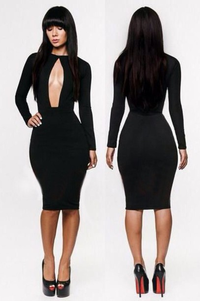 Dress: black dress, black tight dress, little black dress, knee ...