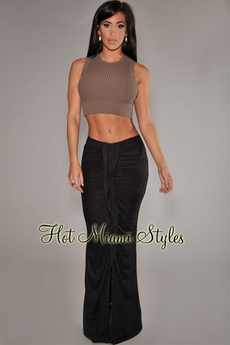 Black faux suede ruffled front maxi skirt
