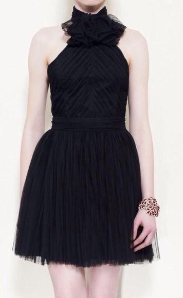 ruffle sleeveless tulle skirt collar ruffle short little black dress tulle dress