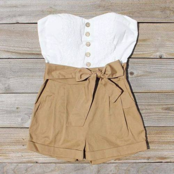 shorts High waisted shorts shirt romper white jumpsuit lace khaki bow hipster summer tan tan and white romper short white crop tops