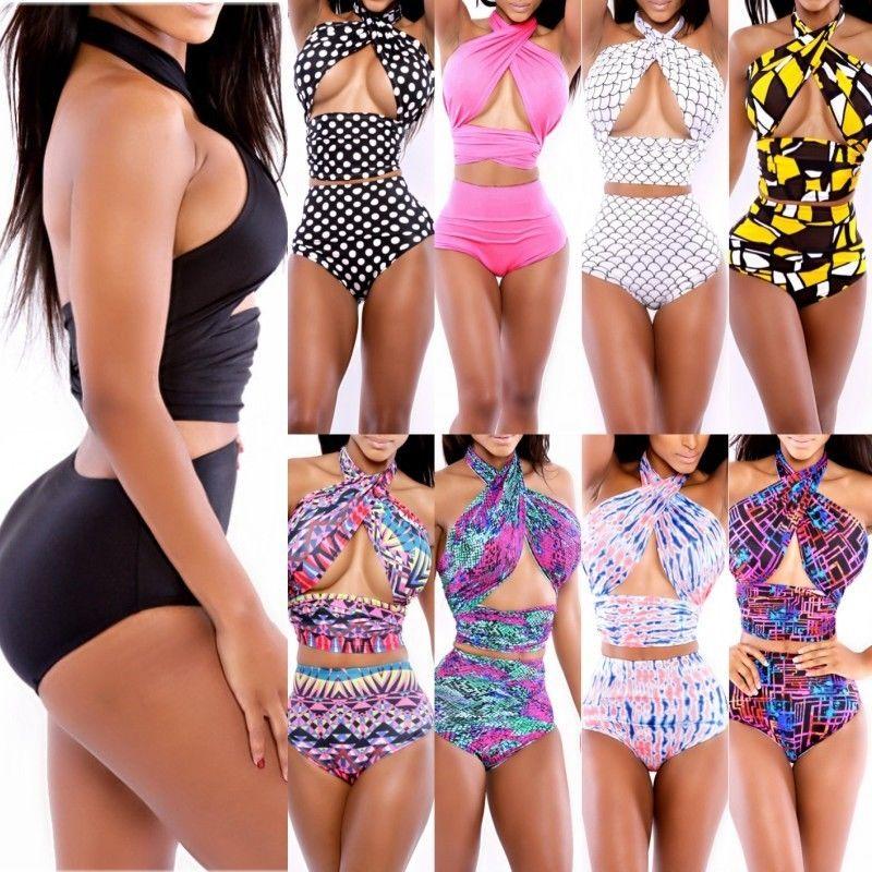 Sexy Women's Halter Retro High Waist Beach Bikini Set Bandage Swimwear Swimsuit