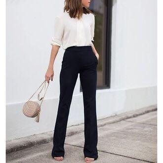 pants tumblr white shirt shirt black pants bag nude bag round bag tassel minimalist classy