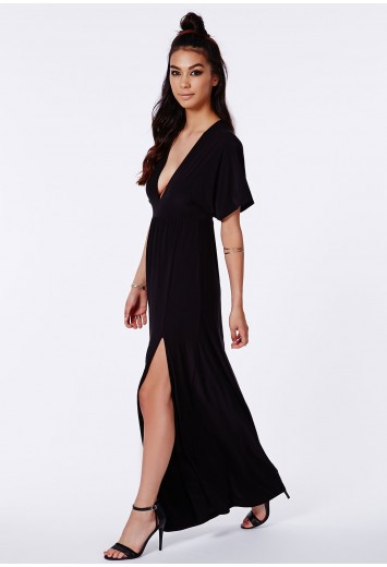 Missguided - Marila Black Slinky Batwing Plunge Maxi Dress