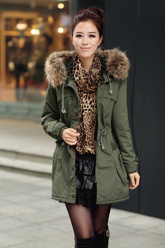 coat parka jacket green black winter coat winter outfits style fashion long coat fur warm chic military style
