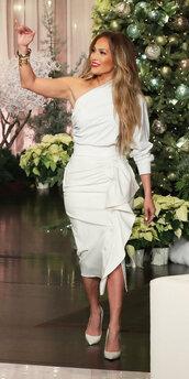 shoes,asymmetrical,asymmetrical dress,white dress,white,jennifer lopez,celebrity