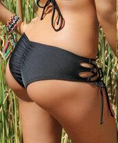 swimwear,scrunch back,black bikini,side ties