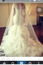 dress,mermaid wedding dress,wedding dress,wedding,white,white dress,long wedding dresss,lace,lace sleeved dress,long sleeves,long sleeve dress,long sleeve wedding dress,ruffle