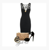 dress,medium dress,v neck dress,deep v-neck dress,lace,lace shoulder,little black dress,black dress,bag,purse,heels,high heels,sling back heels,peep toe heels,bracelets,bangle,necklace,pendent,clothes,outfit,lace back,sling back peep toe heels,shoes