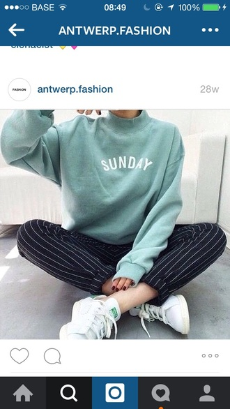 sweater green sunday oversized sweater