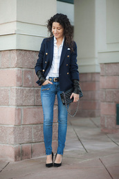 alterations needed,blogger,jeans,blazer,checkered shirt,jacket,shirt,shoes,bag,belt,jewels