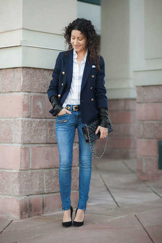 alterations needed blogger jeans blazer checkered shirt
