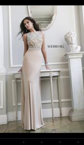 dress,prom dress,nude,pretty,beige dress,sherri hill,formal dress,long evening dress,champagne dress