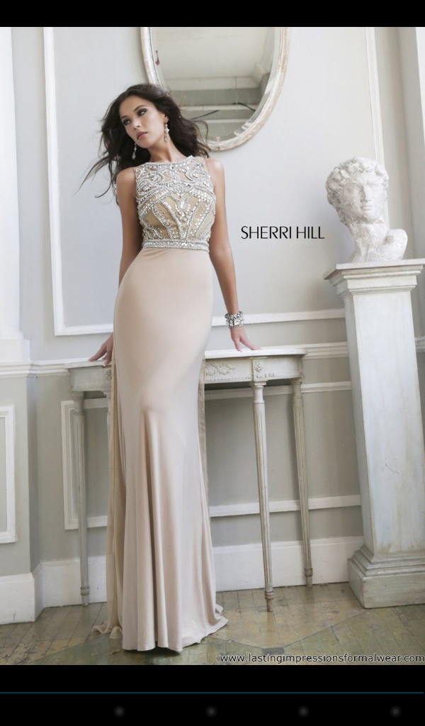 dress prom dress nude pretty beige dress sherri hill formal dress long evening dress champagne dress