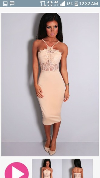 dress nude dress bodycon dress lace dress strappy