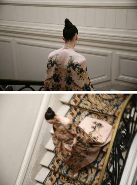 dress chinese kimono flowers print nude floral majestic