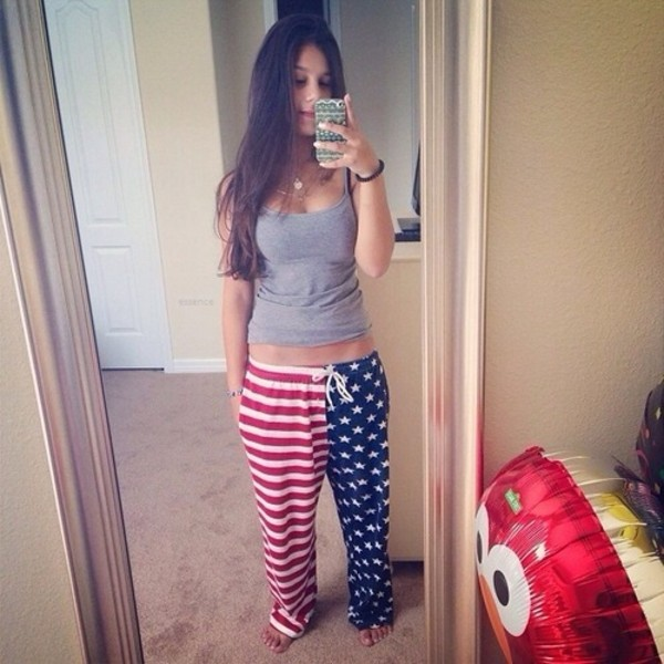 pants red white stars stripes american flag sweats pajamas