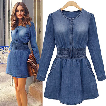 Size Blue Jeans Dress Long Sleeve High Waist Denim Tunic Dresses ...