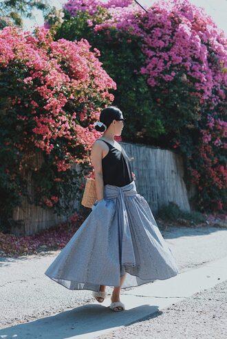 skirt gingham gingham skirt tank top blogger blogger style midi skirt asymmetrical skirt slide shoes