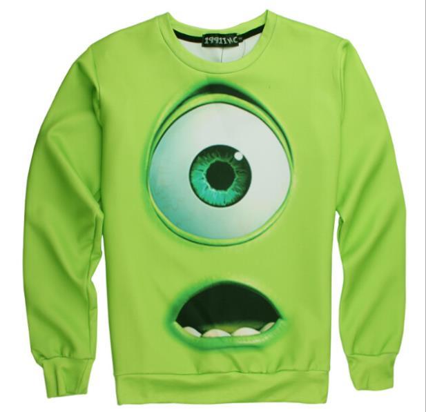 2015 hot selling spring women's iswag hoodies, mens 3d printed monsters university green mike hoodies, emoji sweatshirt