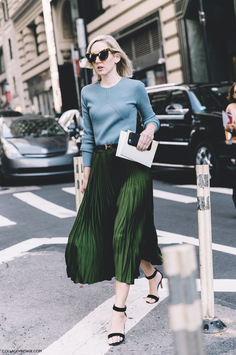 New York Fashion Week Spring Summer 2016 Street Style Green Midi Pleated Skirt Decor Ideas
