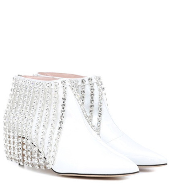 Christopher Kane Crystal patent leather ankle boots in white