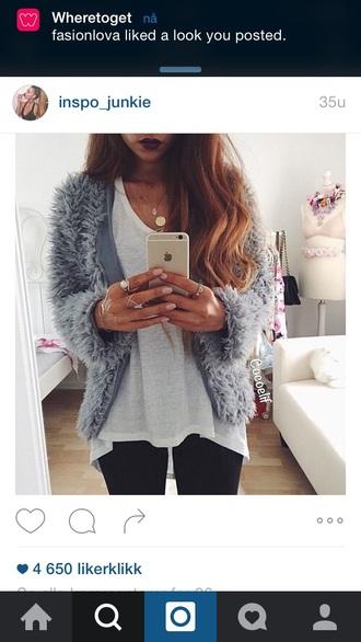 jacket fur fur coat elegant grey fall outfits