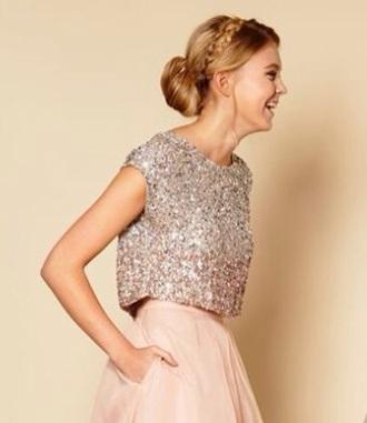 shirt sequins pink silver