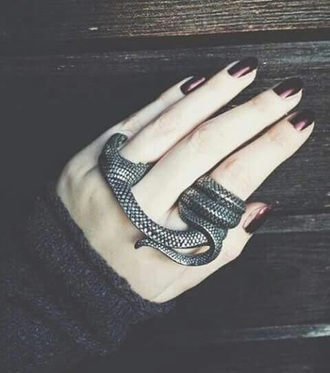 jewels snake biting ring silver