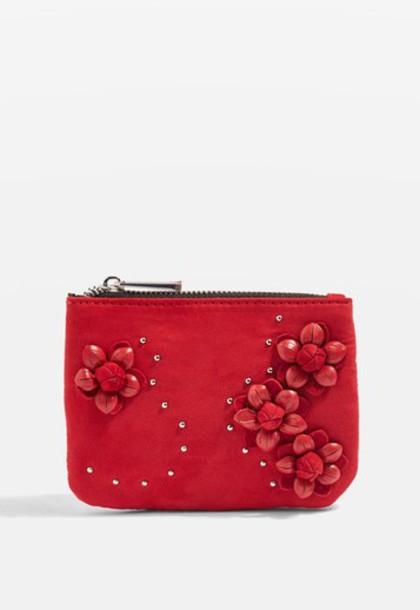 Topshop zip rose purse red bag