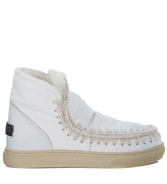 Mou mini sheepskin ankle boots white shoes