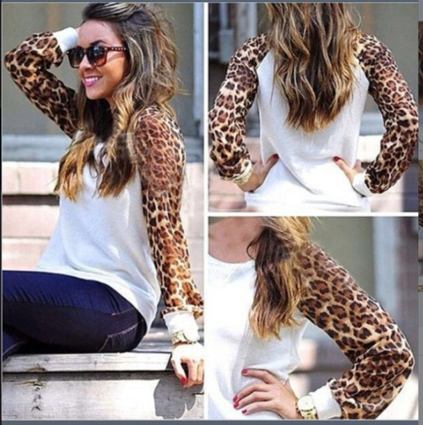 sweater leopard print white sweater