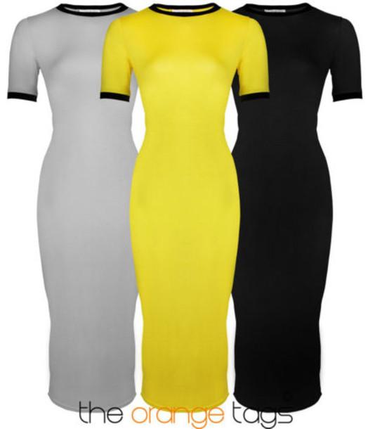 Neon yellow pencil dress